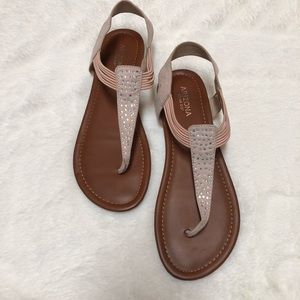 Blush Rhinestone Sandals - Size 9.5